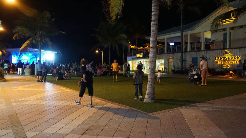 theater at beach of Hollywood Beach, FLorida. Damon on road