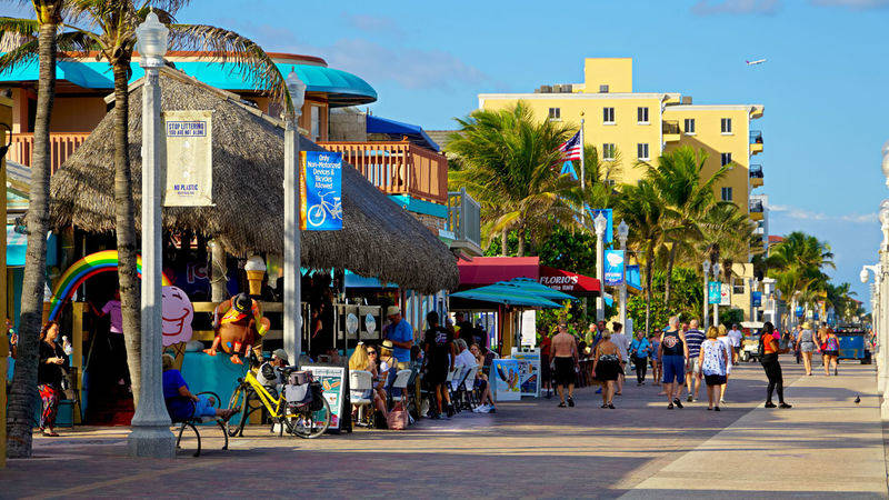 street and beach of Hollywood Beach, FLorida. damon on road