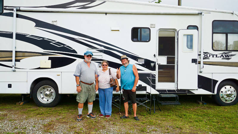 Marion, Linda and Rejean at Boondockers Welcome free rv camping. SchoolmarmandGpa, Fort Myers Florida